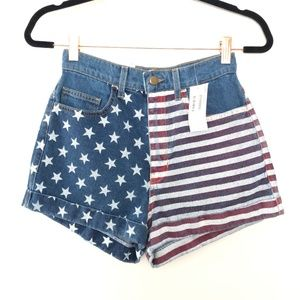 NEW American Apparel 26 High Waisted Flag Shorts